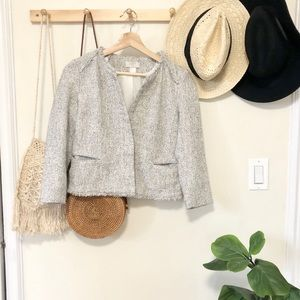 LOFT light gray tweed blazer jacket petite 4